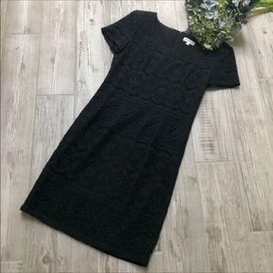 Ann Taylor Black Lace Cocktail Short Sleeve Dress